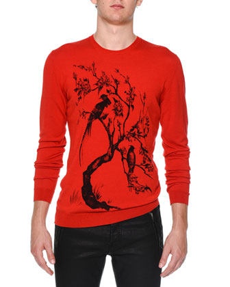 Floral Tree-Print Crewneck Sweater, Red