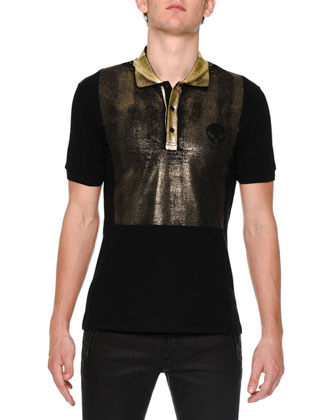 Short-Sleeve Polo Shirt with Gold-Overlay, Black
