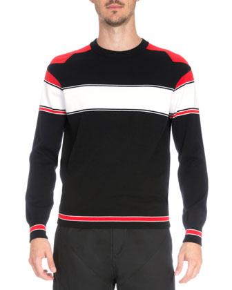Intarsia Colorblock Long-Sleeve Sweater, Black/Red