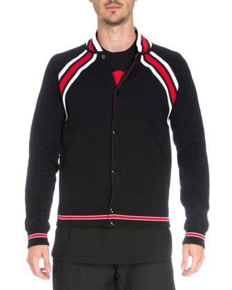 Striped Cotton Varsity Jacket, Black/Red