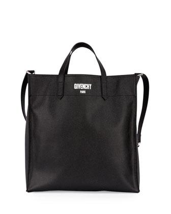Men's Logo Print Leather Tote Bag, Black