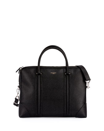 L.C. Small Leather Briefcase, Black