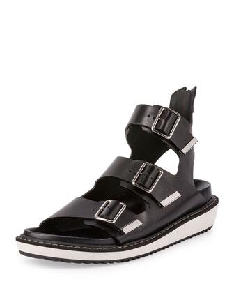 Swiss Gladiator Leather Sandal, Black