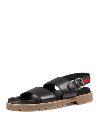 Gil Leather Sandal, Black