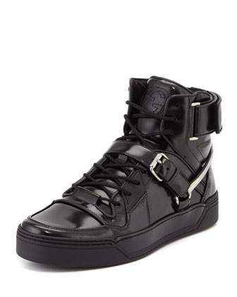 Spur Tennis Leather High-Top Sneaker with Horsebit, Black