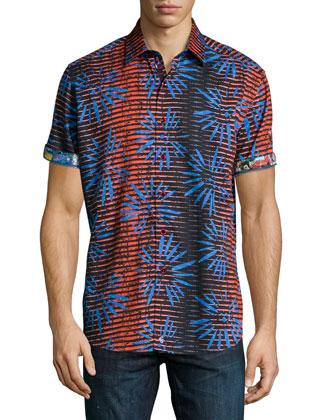 Firework-Printed Short-Sleeve Shirt, Blue/Red