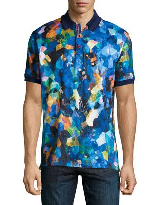 Royal Charter Printed Short-Sleeve Polo Shirt, Blue