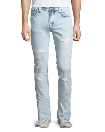 Grim Tim Distressed Denim Jeans, Light Blue