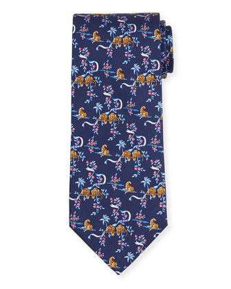 Jungle-Print Silk Tie, Blue
