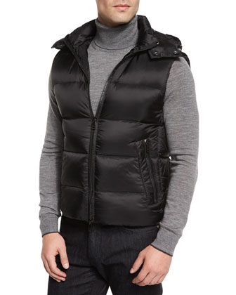 Lightweight Nylon Down Vest & Merino Wool Turtleneck Sweater