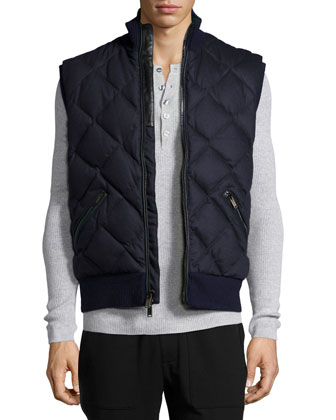 Quilted Flannel Vest, Black