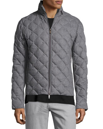 Diamond-Quilted Flannel Jacket, Gray