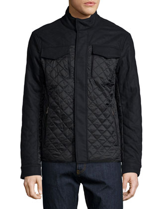 Mixed Media Quilted Flannel Jacket, Navy