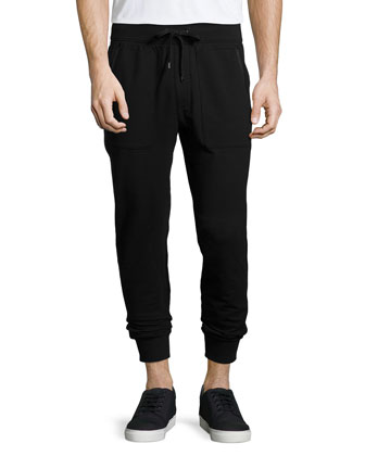 Leather-Trim Knit Sweatpants, Black