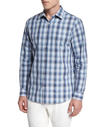 Ombre Plaid Long-Sleeve Sport Shirt, Navy