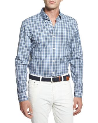 Check Button-Down Shirt, Indigo