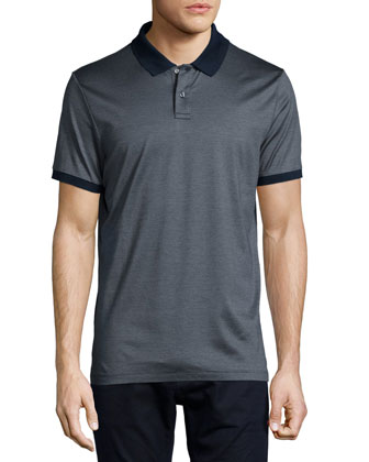 Micro-Stripe Tipped Polo Shirt, Navy