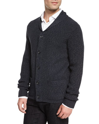 Shawl-Collar Wool Cardigan, Navy