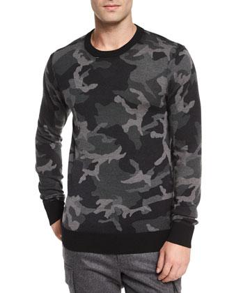 Camo-Print Crewneck Sweater, Black/Gray