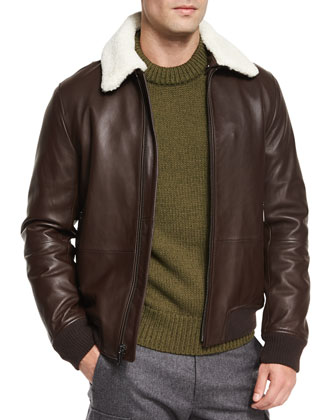 Leather Jacket with Shearling Collar, Textured Knit Crewneck Sweater & ...