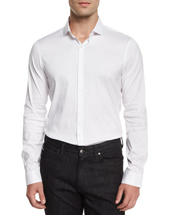 Cotton-Stretch Sport Shirt, White