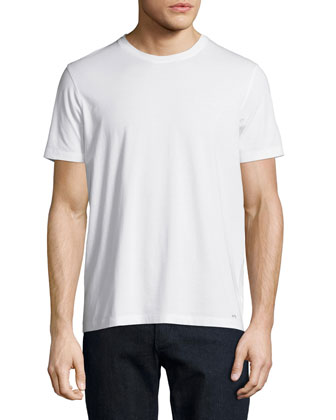 Crewneck Short-Sleeve Jersey Tee, White