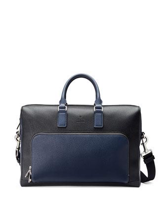 Cosmopolis Leather Briefcase, Black/Blue