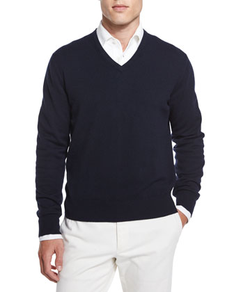 Baby Cashmere V-Neck Sweater, Blue/Navy
