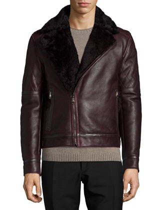 Shearling-Collar Leather Moto Jacket, Burgundy