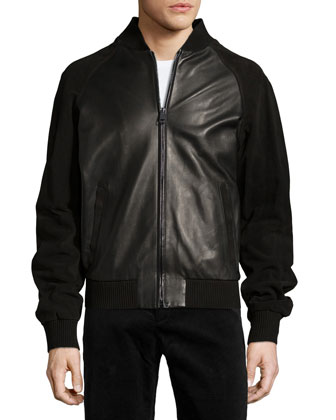 Suede-Sleeve Leather Varsity Jacket, Black
