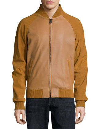 Suede-Sleeve Leather Varsity Jacket, Camel