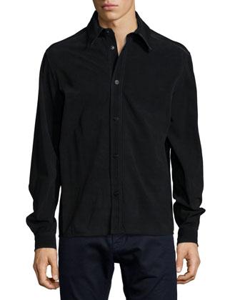 Suede Long-Sleeve Shirt, Black