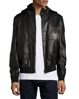 Lambskin Leather Hooded Jacket, Black