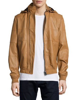 Lambskin Leather Hooded Jacket, Camel