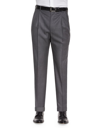 Platinum Wool Dress Pants, Charcoal