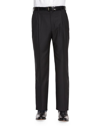 Platinum Flat-Front Dress Pants, Black
