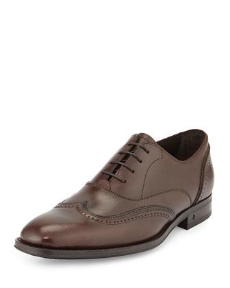 Traveler Leather Wing-Tip Shoe, Espresso