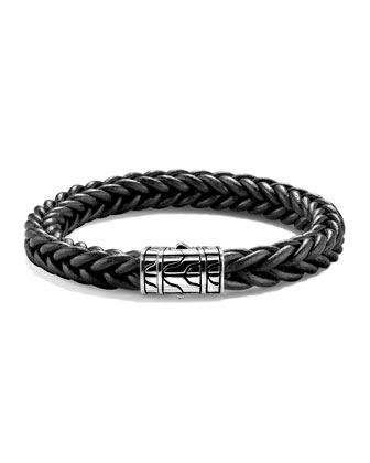 40th Anniversary Men's Classic Chain Braided Leather Bracelet