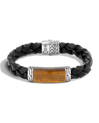 Tigers Eye Classic Silver Station Bracelet, Black