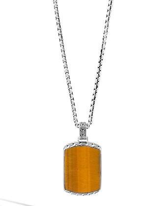 Tigers Eye & Silver Box Chain Dog Tag Necklace