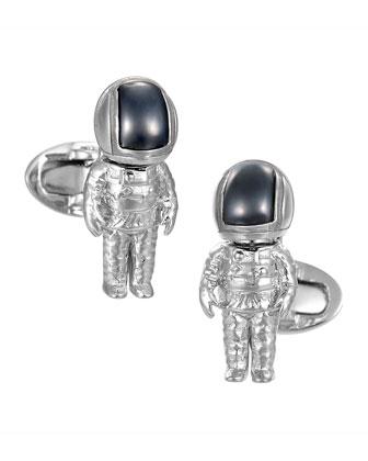 Hematite Astronaut Cuff Links, Silver