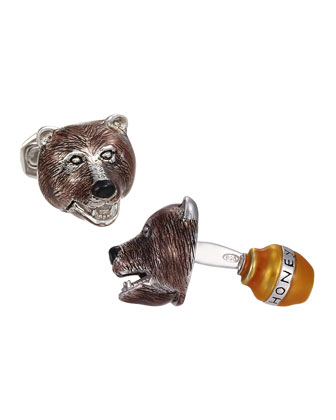 Bear with Honey Pot Cuff Links, Silver/Brown