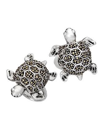 Marcasite Turtle Cuff Links