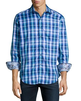 Chiswick Plaid Sport Shirt, Blue