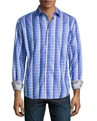 Windsor Castle Printed Sport Shirt, Blue