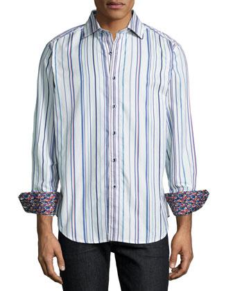 Nottingham Striped Sport Shirt, Ivory