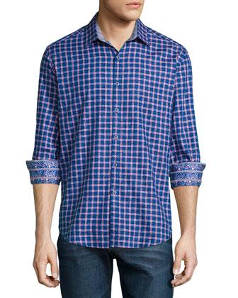 Waterford Box-Check Long-Sleeve Sport Shirt, Teal