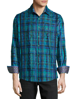 Galway Plaid Long-Sleeve Sport Shirt, Teal