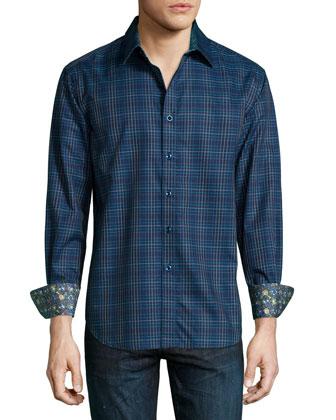 Boyd Graph-Check Sport Shirt, Navy