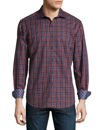 Trotter Printed Long-Sleeve Sport Shirt, Red